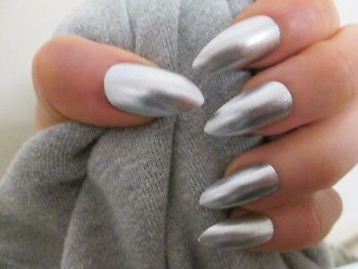 12 hand painted metallic silver stiletto full cover false nails, size large