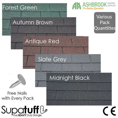 Roofing Felt Shingles | Heavy Duty Felt Tiles | Pack Quantities | 5 Colours