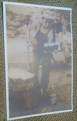 1915 Pittsburgh PA West View Amusement Park Boy Serves Beer,Clarke's Rye Whiskey