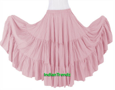 Pink 100% Cotton 10 Yard 3 Tiered Gypsy Skirt Belly Dance Flamenco Soft