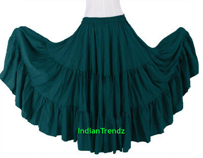 Teal 100% Cotton 10 Yard 3 Tiered Gypsy Skirt Belly Dance Flamenco Soft