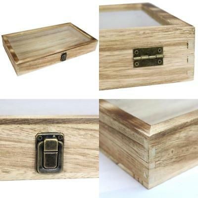NEW Large OakWood Jewelry Display Case Tempered Glass Top Lid Security Lock GIFT