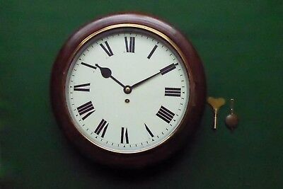 Antique Mahogany Station/school Clock With An 8-Day Mechanical Movement