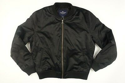 American Eagle Flight Bomber Jacket Black Insulated Mens  Size L Large