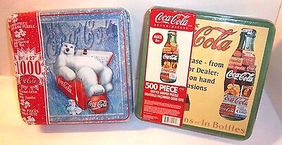 Coca Cola 2 NEW Coke Puzzles Tins Lot Bottle Shape 500 pc & Polar Bear 1000 pc