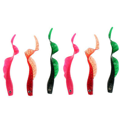 6 x Soft Plastic Fishing Lures Worm Bass Trout Shad Crank Swim Bait 120mm