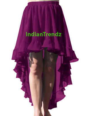 Violet Red - Belly Dance Chiffon Flamenco Skirts Ruffle Asym Gypsy Jupe Tiered