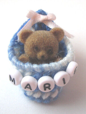 Personalized teddy bear pin with the name MARIE new-handmade