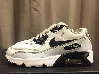 2016 Youth Nike Air Max 90 LTR White Platinum Black Size 6.5Y Used Rare NDS