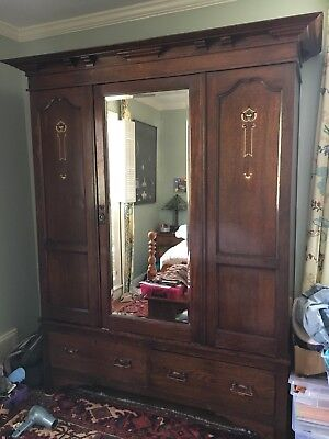 ANTIQUE SCOTTISH ARTS & CRAFTS ARMOIRE WARDROBE, Oak With Inlay & Drawers