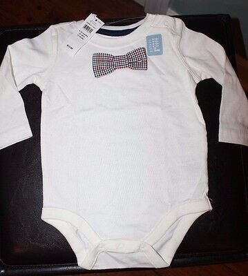 NEW GAP Baby Bodysuit Ivory with Plaid Bow Tie 6-12 Month