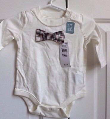 GAP Baby Bodysuit Ivory with Plaid Bow Tie 0-3 Month ~ NEW