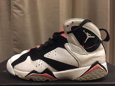 2015 Youth Nike Air Jordan 7 VII Hot Lava White Black Grey Size 5Y Used Rare