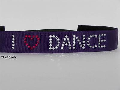 PURPLE DANCE Headband non slip adjustable Rhinestone non sweaty Hair Bands