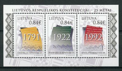 Lithuania 2017 MNH Constitution Lithuanian Republic 25th Anniv 3v M/S Stamps