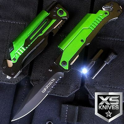 """8.75"""" Green TACTICAL MULTI-FUNCTIONAL Spring Assisted Outdoor Pocket Knife"""