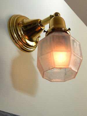 Brass Sconce Light with Well Worn and Shabby Antique Arts and Crafts Glass Shade