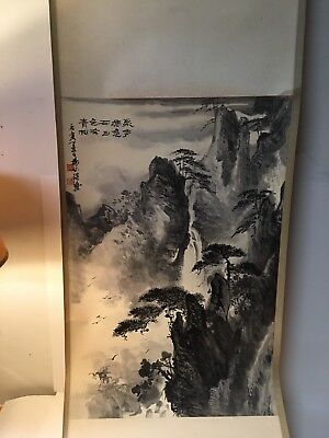 Japanese Hanging Scroll Mountain View Water Fall with Trees Auction Finds 702