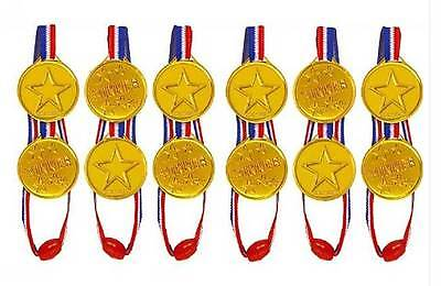 Kids Children Gold Plastic Winners Medals Sports Day Party Bag Prize Awards Toys