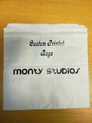 Printed custom paper bags 8.5 x 8.5 sulphite white for food use
