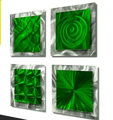 Four Modern Abstract Metal Wall Art Accents by Jon Allen - 4 Squares Green