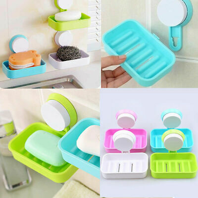 1x Soap Dish Holder Bathroom Wall Hanging Holder with Strong Suction Cup Useful