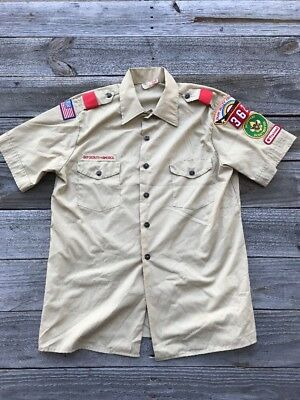 BOY SCOUTS OF AMERICA Assistant Scoutmaster Short SLV Okaw Valley Shirt Sz LG