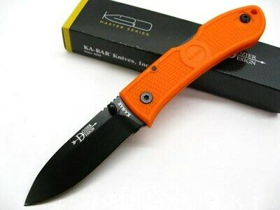 KA-BAR Orange DOZIER Straight Folding Hunter LOCKBACK Hunting Knife 4062BO New!