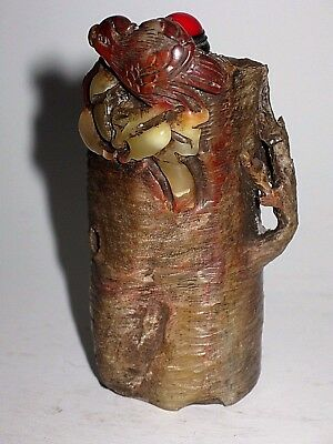 """Chinese Carved Shoushan Stone Snuff Bottle  """"Bird Perched Atop Tree Stump"""""""