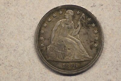 1846 Seated Liberty Dollar, Fine+, Full Liberty, Never Cleaned, Free Shipping