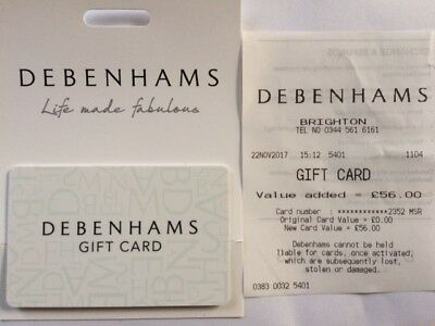 Debenhams Gift Card Voucher - £56 - Any Store / Department or Online - No Expiry