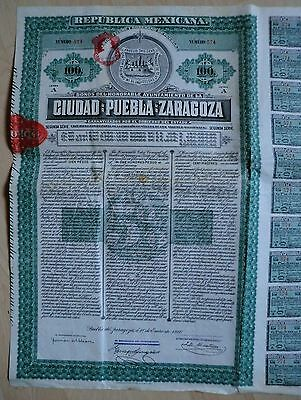 Republica MEXICANA Ciudad de Puebla de ZARAGOZA 5% Bond 1910 (100 $) + Coupons