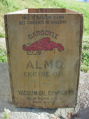 Rare Old Gargoyle Almo - Vacuum Oil Ny Shipping Crate 2 (5 ) Gal. Cans Barn Find