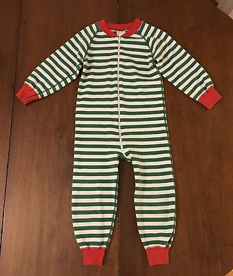 Hanna Andersson Green Striped Christmas Pajamas Size 3 3T 90 VGUC