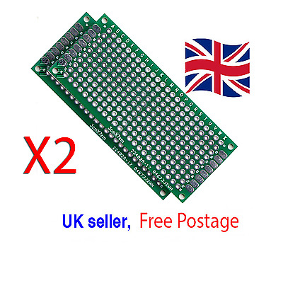 2x  2cm x 8cm double Sided Prototype PCBs  Breadboards