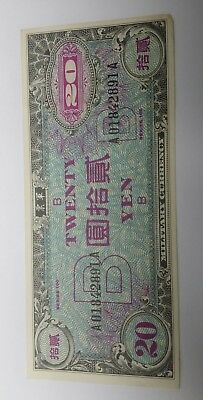 1945 Japan 20 Yen Allied Military Currency Note UNC