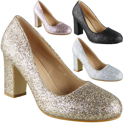 7cc703cf4b9 Womens Glitter High Heels Court Shoes Party Bridesmaid Wedding Bride Ladies  Size