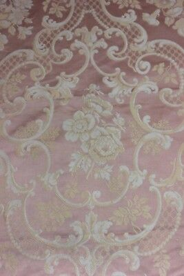 Lovely Antique French Peach-Pink Silk Floral Frame Fabric c1870~Home Dec