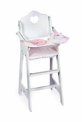 Badger Basket White Doll High Chair with Plate, Bib, and Spoon fits American
