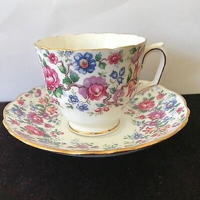 Crown Staffordshire England Chintz Springtime Bone China Footed Teacup & Saucer