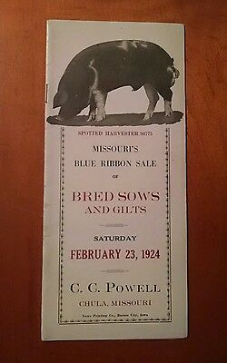 Vintage Spotted Poland China Pig Hog Sale Auction Catalog 1924 Chula Missouri