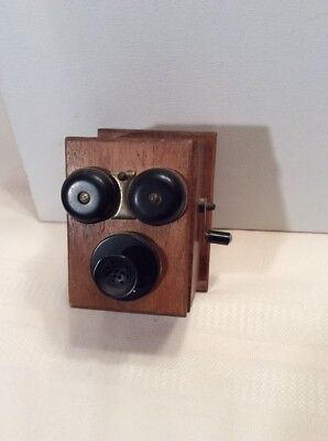 Old Fashioned Wood Crank Telephone Pencil Sharpener Japan  not working