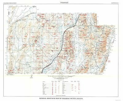 Mining Map - Pershing County Nevada Minerals - NV Mines  1971 - 28.02 x 23