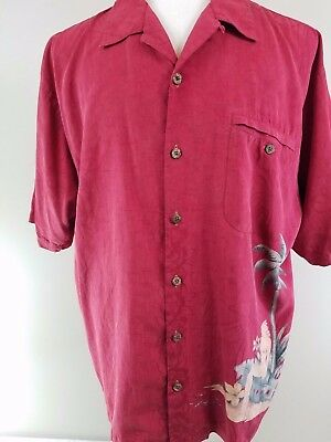 Tommy Bahama Size XL Mens 100% Silk Tropical  Short Sleeve Shirt ms11