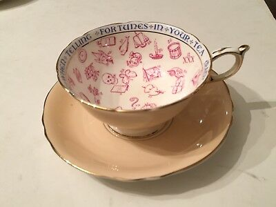 Antique Peach Paragon Fortune Telling Tealeaf Reading Cup & Saucer 1910