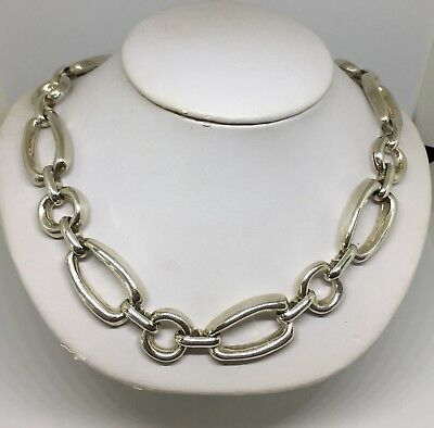 "Fancy Round & Oval Link Heavy Solid Sterling Silver Necklace ~16 1/2"" ~2.45 Oz."
