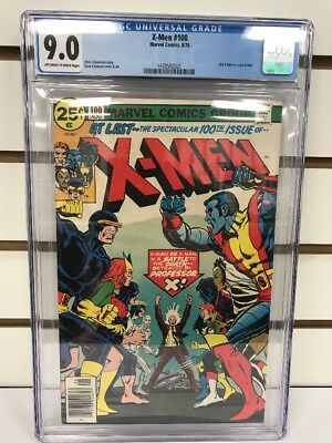Marvel Comics X-Men #100 1976 Cgc 9.0 White Pages Old Team Vs New Team Claremont