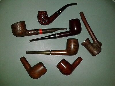 Lot of 6 Vintage tobacco Estate Pipes & 2 Pipe Bowls Restore Repair Parts