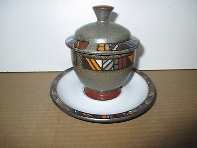 Denby Pottery Marrakesh Covered Sugar Bowl and Stand Very Good Condition