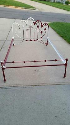 Vintage ANTIQUE CAST IRON BED Frame Full Victorian Slide in Rails Wood Casters